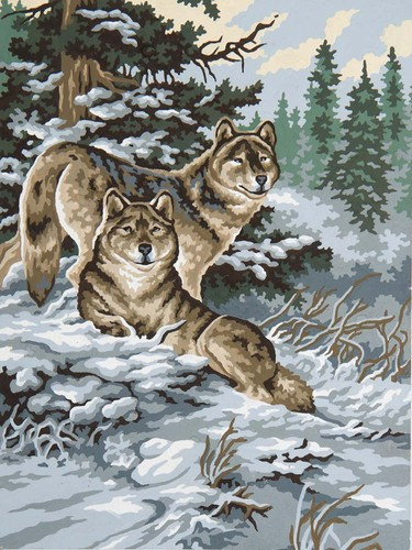 Needlepoint Canvas 30x40cm Snow Wolves