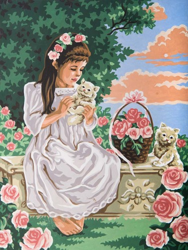 Needlepoint Canvas 30x40cm Girl & Kittens