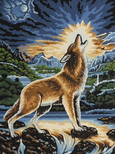Needlepoint Canvas 30x40cm Howling Wolf