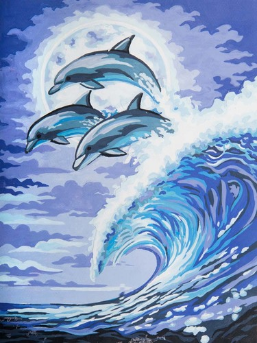 Needlepoint Canvas 30x40cm Moonlight Dolphins