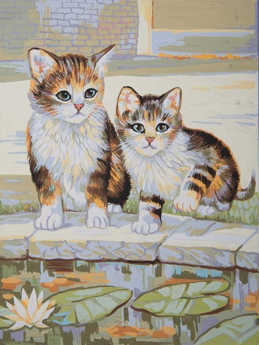 10490 Needlepoint Canvas 30x40cm Kittens playing