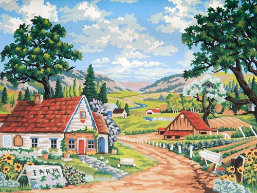 10493 Needlepoint Canvas 30x40cm Hobby Farm