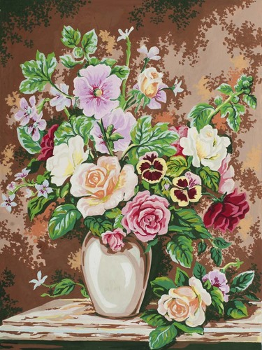 Needlepoint Canvas 30x40cm Floral Arrangement