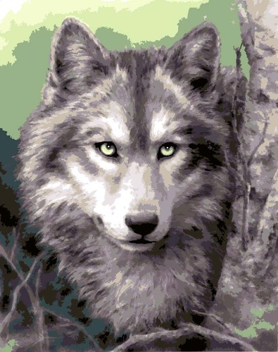 Needlepoint Canvas 30x40cm Grey Wolf