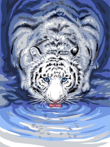 Needlepoint Canvas 30x40cm White Tiger Drinking