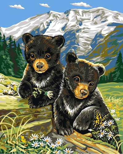 Needlepoint Canvas 30x40cm Bear Cubs in Spring