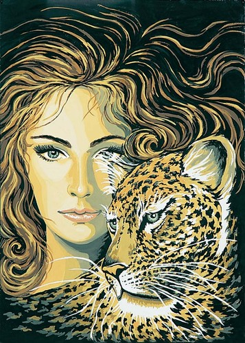 11370 Needlepoint Canvas 50x40cm Leopard Maiden
