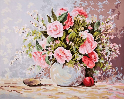 11382 Needlepoint Canvas 50x40cm Pastel Arrangement