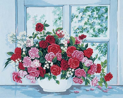 11399 Needlepoint Canvas 50x40cm Roses by the Window