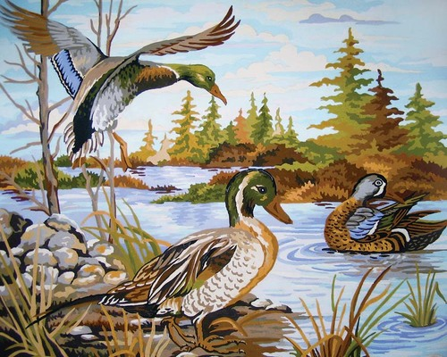 Needlepoint Canvas 50x40cm Mallards at the River