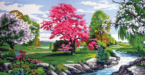 11562 Needlepoint Canvas 30x52cm Spring Time
