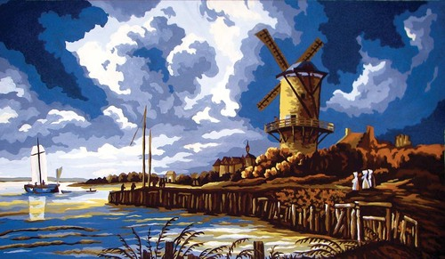 11568 Needlepoint Canvas 30x52cm Stormy Windmill