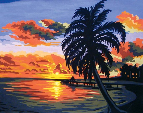 Needlepoint Canvas 50x40cm Tropical Sunset