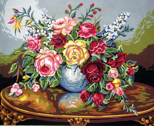 Needlepoint Canvas 50x40cm The Rose Bowl