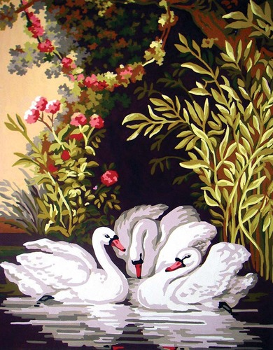11582 Needlepoint Canvas 50x40cm Swans in the Shade