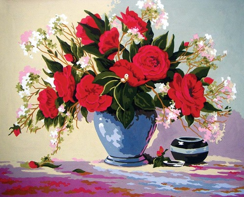 11583 Needlepoint Canvas 50x40cm Red Rose Delight