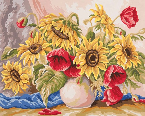 11588 Needlepoint Canvas 50x40cm Poppies and Sunflowers