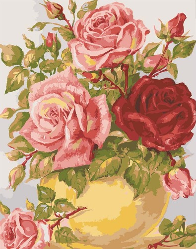11853 Needlepoint Canvas 50x40cm Roses in a Yellow Vase
