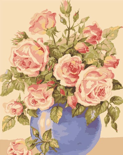Needlepoint Canvas 50x40cm Roses in a Blue Vase
