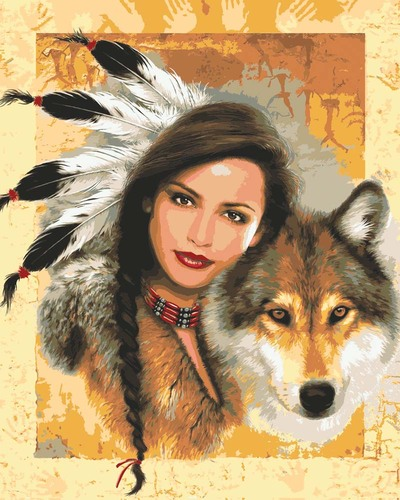 Needlepoint Canvas 50x40cm Indian Maiden with Wolf