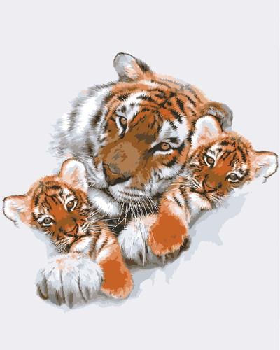 Needlepoint Canvas 50x40cm Tigress with Cubs