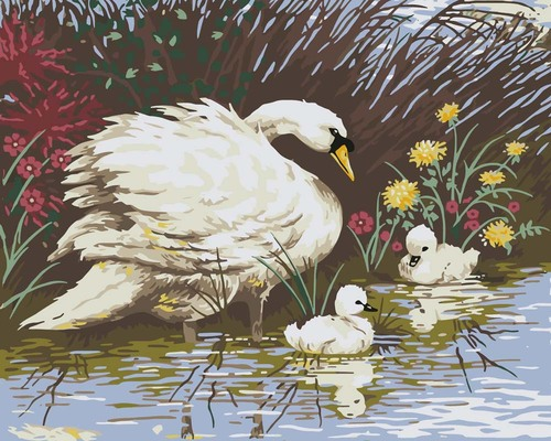 Needlepoint Canvas 50x40cm Mother Swan & Signets