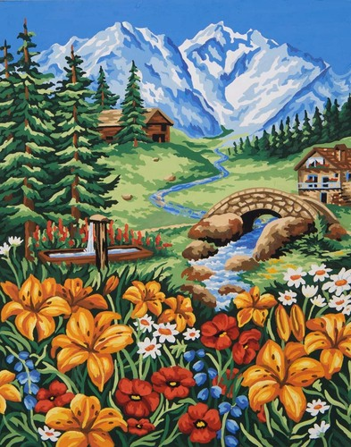 SNeedlepoint Canvas 50x40cm pring in the Mountains