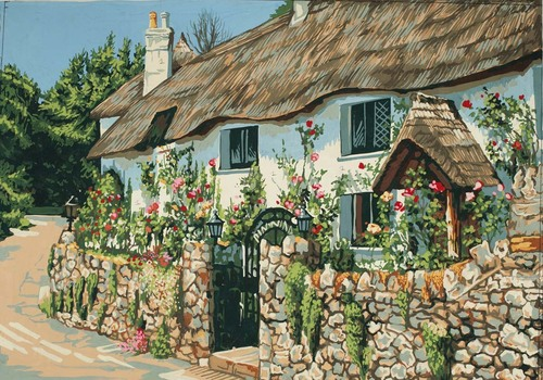 TNeedlepoint Canvas 50x40cm hatched Cottage