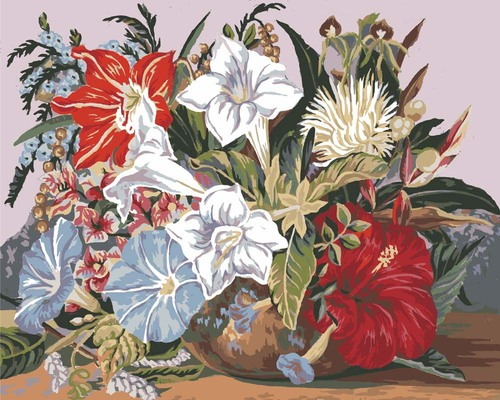 11876 Needlepoint Canvas 50x40cm Tropical Posy