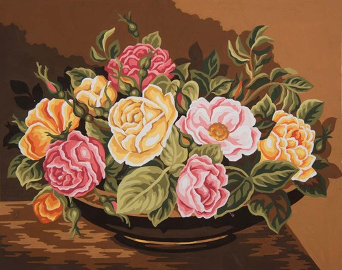 11877 Needlepoint Canvas 50x40cm Rose Bowl
