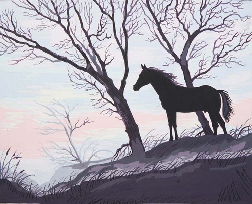 11878 Needlepoint Canvas 50x40cm Stallion Silhouette