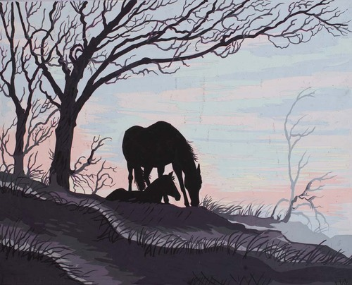 Needlepoint Canvas 50x40cm Mare & Foal Silhouette