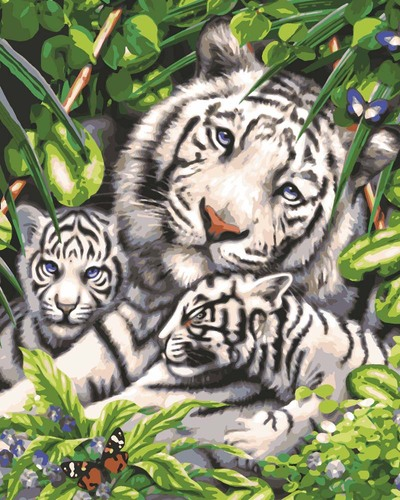 Needlepoint Canvas 50x40cm White Tiger & Cubs