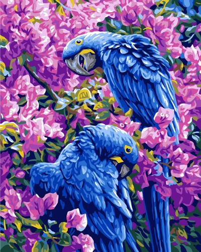 11882 Needlepoint Canvas 50x40cm Blue Parrots