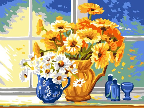 11887 Needlepoint Canvas 50x40cm Yellow & White Daisies
