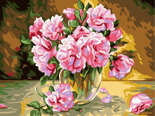 11888 Needlepoint Canvas 50x40cm Pink Roses