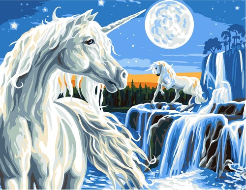 11891 Needlepoint Canvas 50x40cm Unicorns