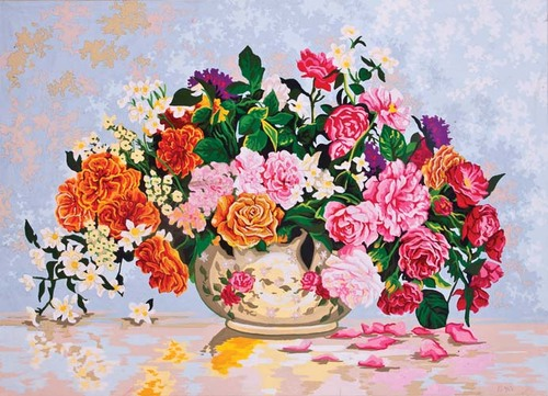 Needlepoint Canvas 50x70cm Roses in a China Bowl