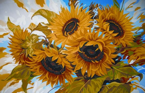 Needlepoint Canvas 50x70cm Windswept Sunflowers