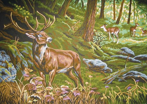 Needlepoint Canvas 50x70cm Watchful in the Forest