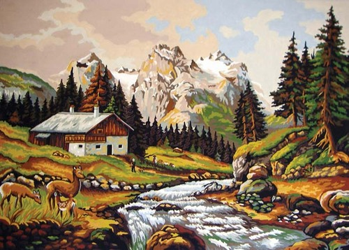 Needlepoint Canvas 50x70cm Mountain Chalet