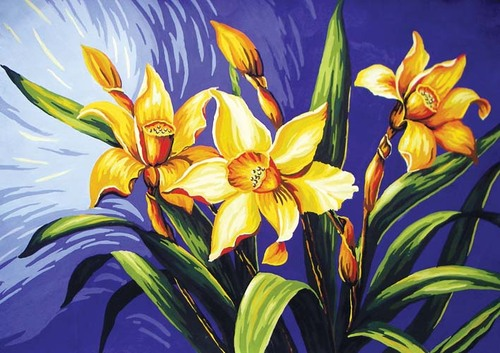 Needlepoint Canvas 50x70cm Yellow Lillies