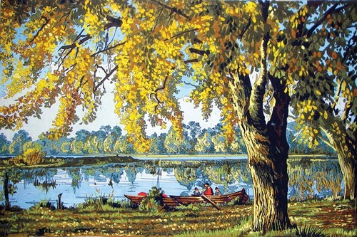Needlepoint Canvas 50x70cm Autumn by the Lake