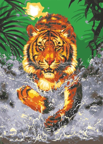 Needlepoint Canvas 50x70cm Water Tiger