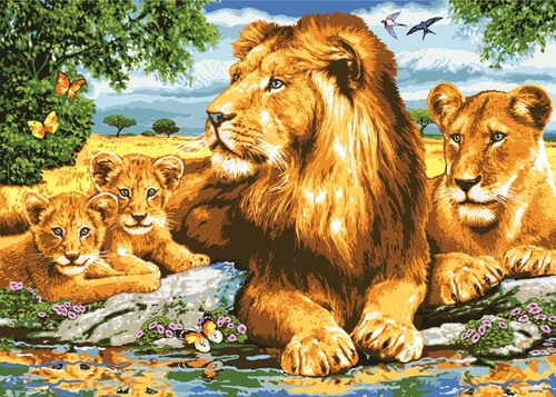 Needlepoint Canvas 50x70cm Lion Family