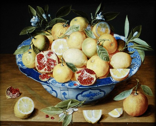 Needlepoint Canvas 50x70cm Still Life with Lemons Oranges and Pomegranate (Hulzdonck)