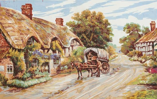 Needlepoint Canvas 50x70cm Thatched Cottage Lane