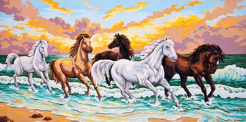 Needlepoint Canvas 50x100cm Galloping Through the Waves