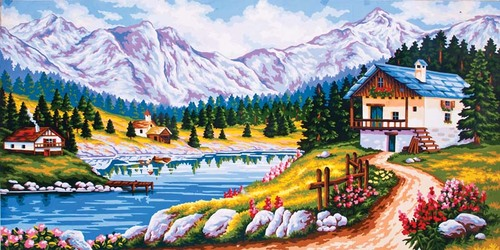 13980 Needlepoint Canvas 50x100cm Mountain Chalet in Spring