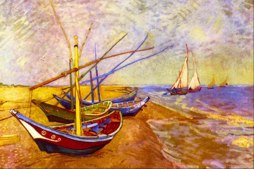 Needlepoint Canvas 50x80cm Boats of Saintes-Maries (Van Gough)